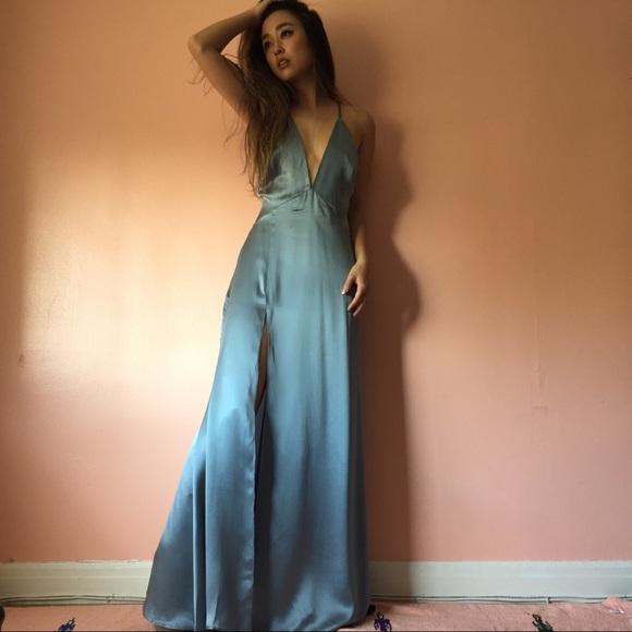 Reformation Dresses & Skirts - Reformation Sky Blue Silk Plunging Dress